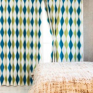 スウェーデン調のモダンなプリント 遮光2級【パルナ】ブルー おしゃれなインテリアにおすすめの国産オーダーカーテン 寝室や出窓、カフェカーテンにも◎
