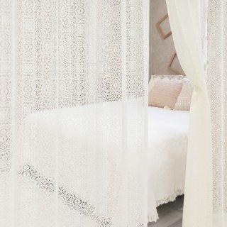 アンティークな透けるレース編みが可愛く風通しも良い【メルク】 おしゃれなインテリアにおすすめの国産オーダーカーテン 寝室や出窓、フロントレースも◎