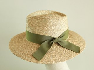 広つばの中折れ帽 Sophie ソフィー カーキリボン