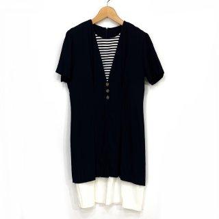 【vintage】【dead stock】70's  SCARLETT スカーレット 半袖レイヤードワンピース  NV sizeM相当