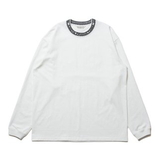 COOTIE/JACQUARD COLLAR L/S TEE/ホワイト