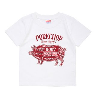 PORKCHOP/PORK FRONT TEE for Kids/ホワイト
