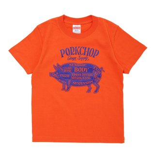 PORKCHOP/PORK FRONT TEE for Kids/オレンジ