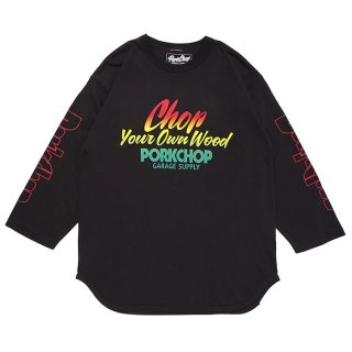 PORKCHOP/CHOP YOUR OWN WOOD BASEBALL TEE/アッシュブラック