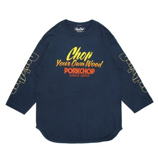 PORKCHOP/CHOP YOUR OWN WOOD BASEBALL TEE/インディゴブルー