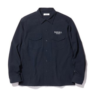 RADIALL/SLOW BURN-OPEN COLLARED SHIRT L/S/ネイビー