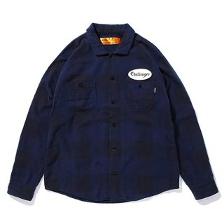 CHALLENGER/L/S PATCH CHECK SHIRT/ネイビー