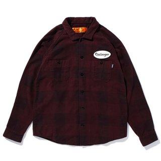 CHALLENGER/L/S PATCH CHECK SHIRT/バーガンディー
