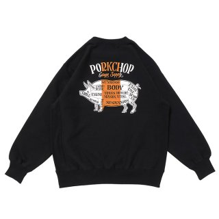 PORKCHOP/PORK BACK SWEAT/ブラック