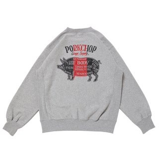 PORKCHOP/PORK BACK SWEAT/グレー