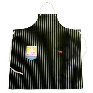 COOKMAN/LONG APRON/STRIPE/ブラック/送料無料