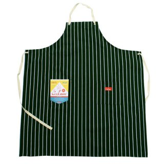 COOKMAN/LONG APRON/STRIPE/ダークグリーン
