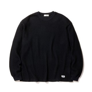 RADIALL/BIG WAFFLE-CREW NECK T-SHIRT L/S/ブラック【20%OFF】<img class='new_mark_img2' src='https://img.shop-pro.jp/img/new/icons20.gif' style='border:none;display:inline;margin:0px;padding:0px;width:auto;' />