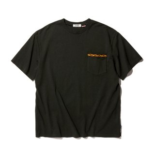 RADIALL/FLAMES-CREW NECK POCKET T-SHIRT S/S/ブラック