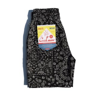 COOKMAN/CHEF SHORT PANTS/PAISLEY/ブラック/送料無料