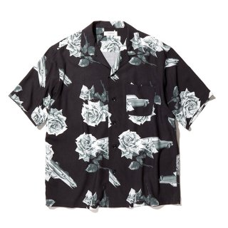 RADIALL/CHEVY ROSE-OPEN COLLARED SHIRT S/S/ブラック