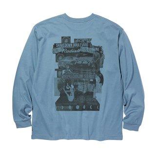 RADIALL/SHAKEDOWN BOULEVARD-CREW NECK T-SHIRT L/S/ブルー