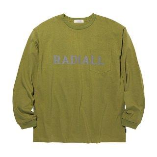 RADIALL/LOGOTYPE-CREW NECK POCKET T-SHIRT L/S/オリーブ