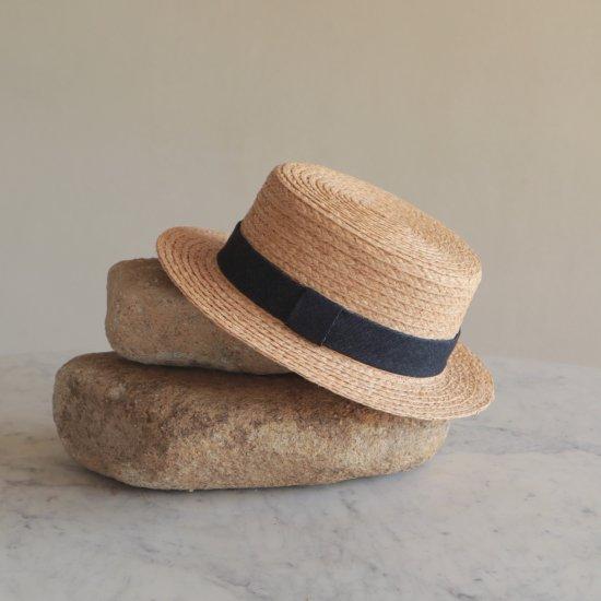 デニムリボンのカンカン帽 メンズ