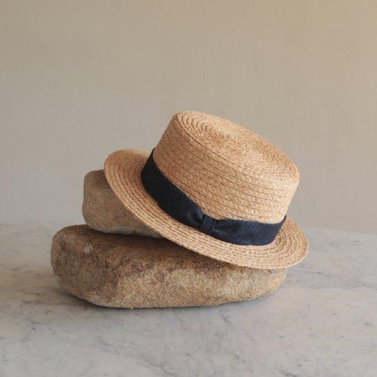 デニムリボンのカンカン帽 レディース
