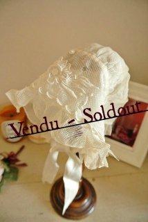 フランスアンティーク  手編み刺繍のアンティークベビーボネ(帽子)