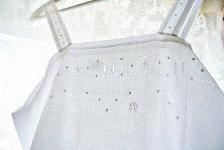 フランスアンティーク アイレット刺繍&モノグラム刺繍入キャミソールワンピース【クリックポスト送料無料】