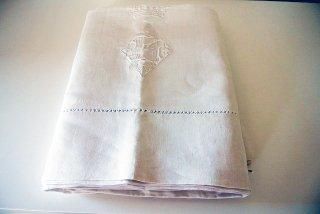 フランスアンティーク リネンシーツ(麻) 王冠&モノグラム刺繍入り