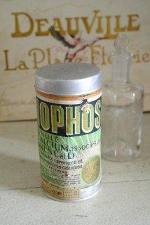 フランス アンティーク缶 ビタミンサプリ粉末の円筒缶