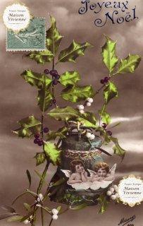 フランスアンティーク ポストカード Joyeux Noel ヒイラギ・宿り木と天使たち【普通郵便送料無料】