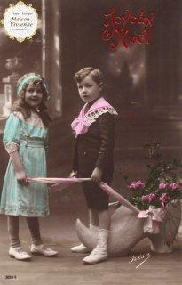 フランスアンティーク ポストカード Joyeux Noel 宿り木と可愛い兄妹【普通郵便送料無料】