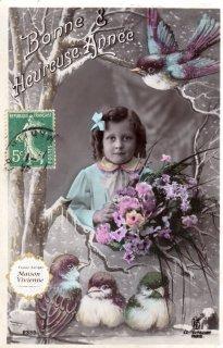 フランスアンティーク ポストカード ぷっくりした鳥さんたちと可愛い少女【普通郵便送料無料】