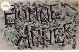 フランスアンティーク ポストカード 天使とヤドリギのBONNE ANNEE【定形外郵便可】
