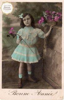 フランスアンティーク ポストカード 水色のレースワンピースの女の子【普通郵便送料無料】