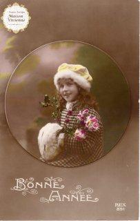 フランスアンティーク ポストカード 黄色い帽子を被った可愛い女の子【普通郵便送料無料】