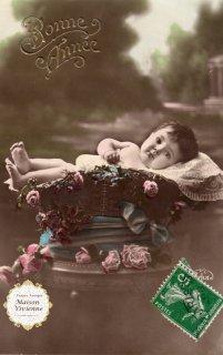 フランスアンティーク ポストカード 素敵なレース枕のゆりかごの赤ちゃん【普通郵便送料無料】