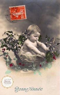 フランスアンティーク ポストカード 籠の中のヤドリギと赤ちゃん【普通郵便送料無料】