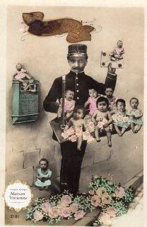 フランスアンティーク ポストカード JoyeuxNoel「赤ちゃん配達中」【普通郵便送料無料】