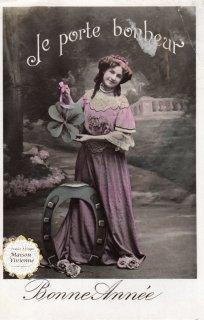フランスアンティーク ポストカード 幸福のシンボルを持つ乙女【普通郵便送料無料】
