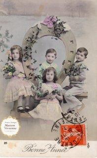 フランスアンティーク 馬蹄シリーズポストカード ヒイラギとヤドリギと可愛い少年少女たち【普通郵便送料無料】