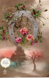 フランスアンティーク 馬蹄シリーズポストカード ヤドリギと薔薇を添えて【普通郵便送料無料】