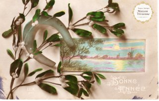 フランスアンティーク 馬蹄シリーズポストカード 印象派絵画とヤドリギと共に【普通郵便送料無料】
