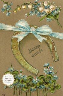 フランスアンティーク 馬蹄シリーズポストカード リボンを掛けてスズランと四つ葉のクローバーを添えて【普通郵便送料無料】