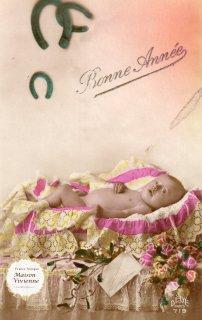 フランスアンティーク ポストカード 馬蹄と薔薇とヤドリギと揺り籠の赤ちゃん【普通郵便送料無料】