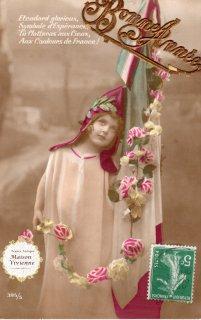 フランスアンティーク ポストカード フランス国旗と薔薇のガーランドと可愛い女の子【普通郵便送料無料】