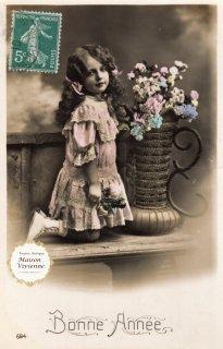 フランスアンティーク ポストカード 可愛いレースのドレスを着た美少女【普通郵便送料無料】