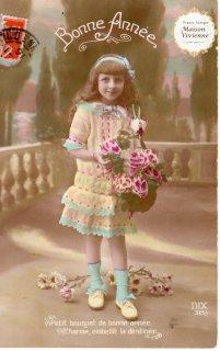 フランスアンティーク ポストカード 大輪の薔薇と美少女【普通郵便送料無料】