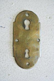 フランスアンティーク 真鍮製 シンプルな2重鍵穴プレート