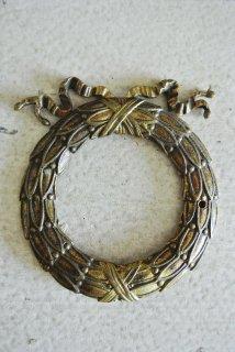 フランスアンティーク 真鍮製 麦穂をリボンで束ねたモチーフの家具装飾プレート