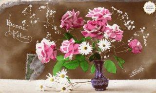 薔薇シリーズのアンティーク・ポストカード モノクロ写真に彩色【普通郵便送料無料】