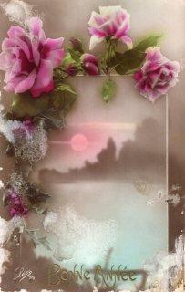 薔薇シリーズのアンティーク・ポストカード モノクロ写真に彩色2【普通郵便送料無料】